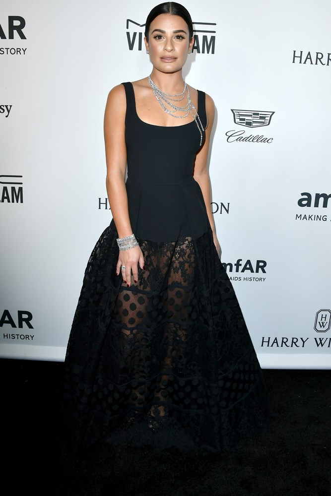 Lea Michele at amfAR's Inspiration Gala in Los Angeles.