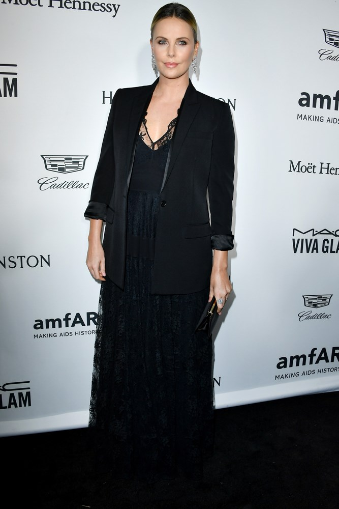 Charlize Theron at amfAR's Inspiration Gala in Los Angeles.