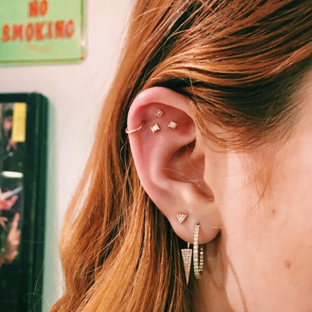 """<p>People often forget about the flat part of their ear. Brian did this constellation piercing on Bella Thorne. <p><a href=""""https://www.instagram.com/p/BA3M-zRSELx/"""" target=""""_blank"""">Instagram.com/bodyelectrictattoo</a>"""