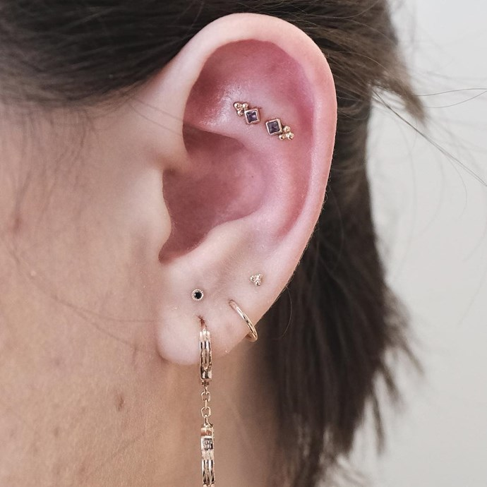 """<p>This is one of the most uniquely-pierced ears we've seen, all done by Ben Tauber. <p><a href=""""https://www.instagram.com/p/BIfdwBYhDEd/"""" target=""""_blank"""">Instagram.com/bentauber</a>"""