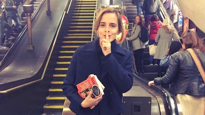 Emma Watson Hiding Books in London Tube