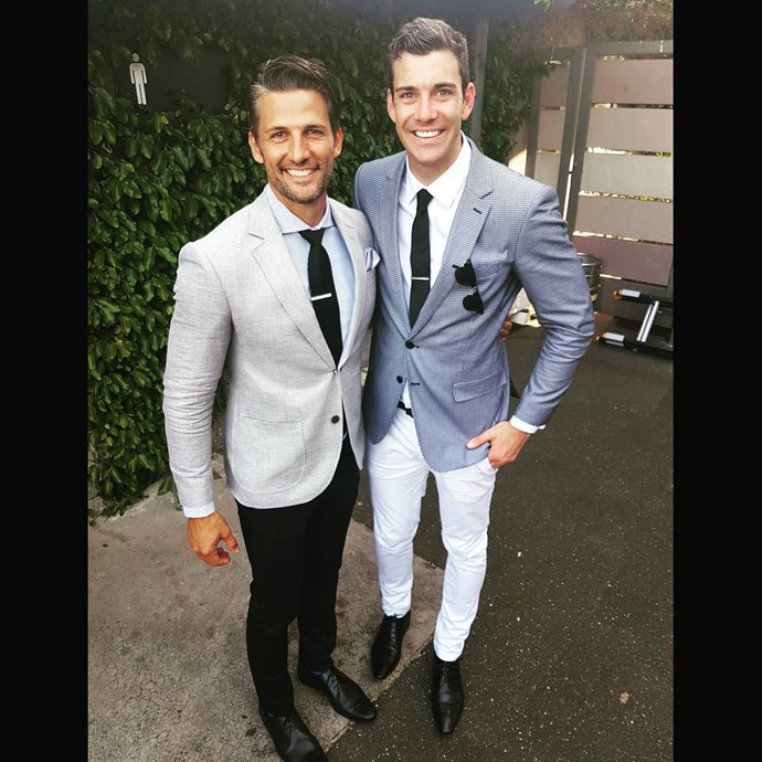 """<p>Fireman Cam Cranley was """"starstruck by legends"""" including Australia's first Bachelor, Tim Robards, when he attended Derby Day in Flemington. <p><a href=""""https://www.instagram.com/p/BMLO2ldFCiw/"""" target=""""_blank"""">Instagram.com/camcranley</a>"""