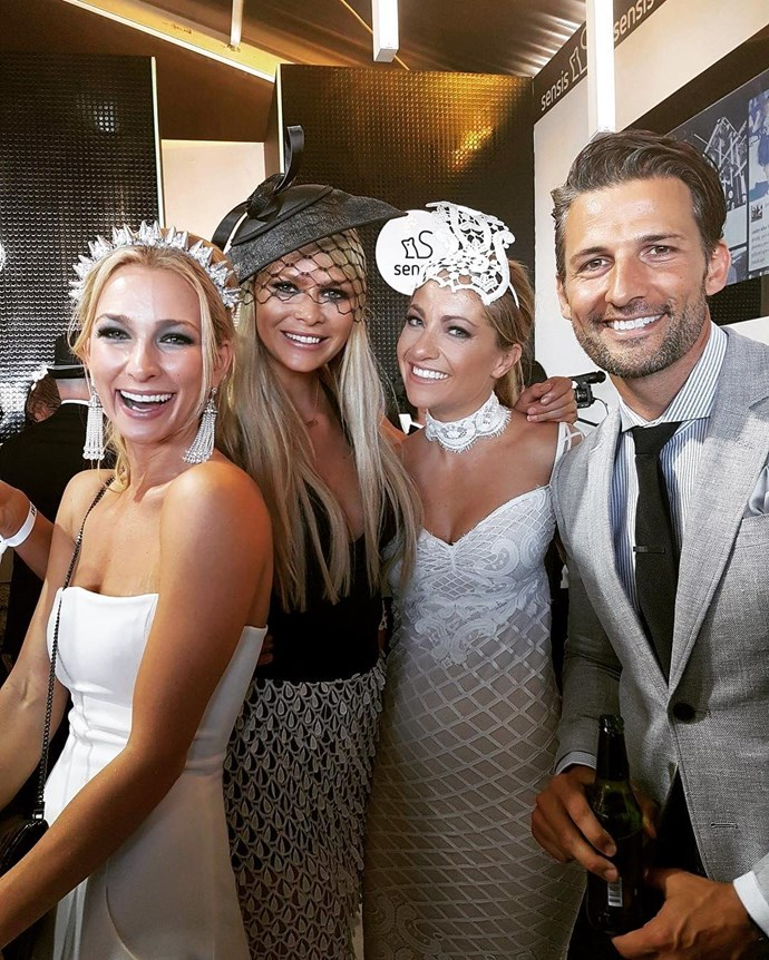 "<p>Megan Marx and Tiffany Scanlon from Richie Strahan's season rubbed shoulders—literally—with season one winners Anna Heinrich and Tim Robards at Derby Day. <p><a href=""https://www.instagram.com/p/BMIor98h-4O/"" target=""_blank"">Instagram.com/megan.leto.marx</a>"