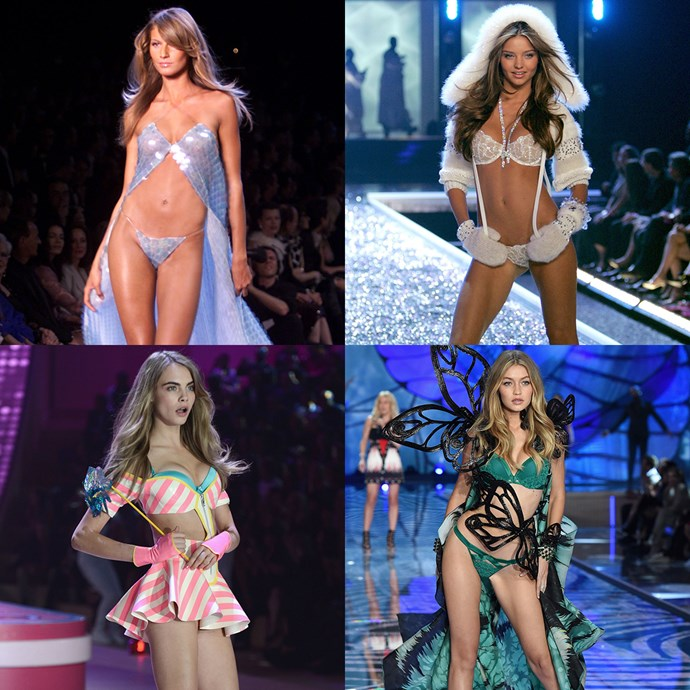 A lot has changed since 1995. Here, we're tracking the complete style evolution of the Victoria's Secret fashion show, from fantasy bras to the models.