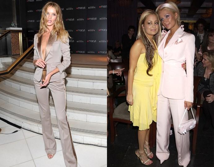 <p> THE BLUSH POWER SUIT> <P> Rosie Huntington-Whiteley in 2011 / Paris Hilton in 2003.
