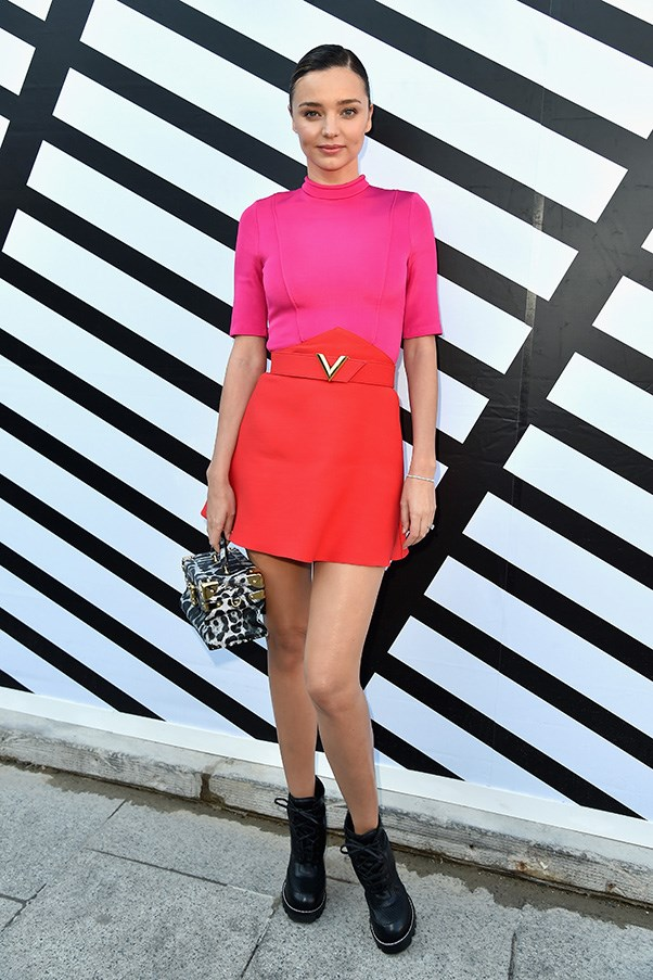 <p> <strong>Miranda Kerr</strong><p> <p> We know breaking free from the confines of your 85% black wardrobe is a challenge, but doesn't Miranda Kerr in Louis Vuitton make a convincing case for embracing colour?