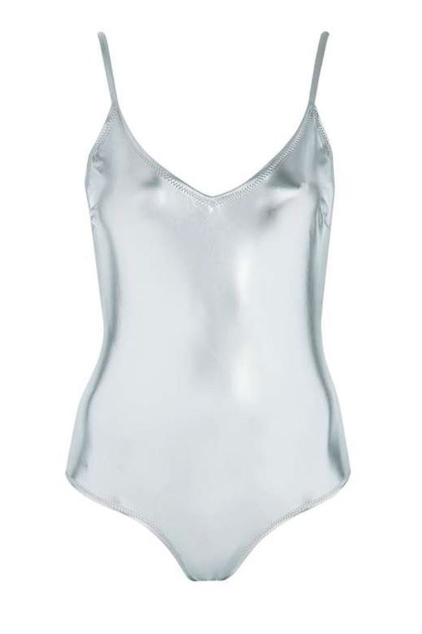 "<a href=""http://www.topshop.com/en/tsuk/product/clothing-427/swimwear-beachwear-3163078/metallic-low-back-swimsuit-5697641?bi=200&ps=20"">Swimsuit, $54 at Topshop.</a>"