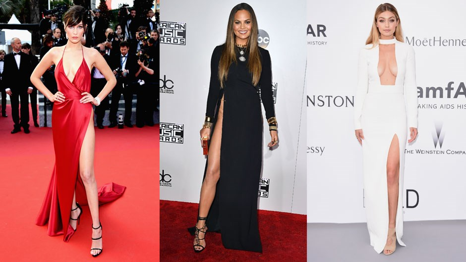 With Chrissy Teigen stepping out at the AMAs in her waist-high split dress we decided to take a look back at the daring, sexy and down-right fearless red carpet dresses that defy logic (and gravity).