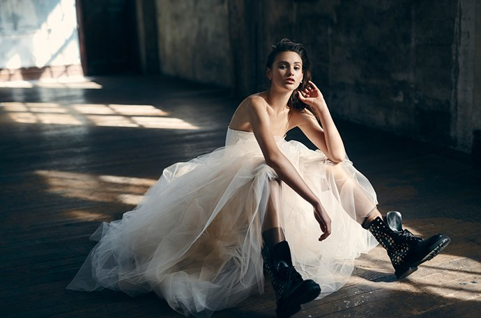 <p>Aleyna FitzGerald, the 2016 winner of <em>Australia's Next Top Model</em>, takes centre stage in the December issue of <em>ELLE</em>. Here's a sneak peek of her winning shoot. <p>Bustier, $1,826, Victoria Beckham, victoriabeckham.com; skirt, $5,000, Steven Khalil, stevenkhalil.com; socks, $143, Pan & The Dream, panandthedream.com (worn throughout); boots, $1,895, Burberry, au.burberry.com (worn throughout); earring in model's right ear (worn throughout), $1,295, earring in model's left ear (worn throughout), $1,500, ring, $3,900, all Alinka, alinkajewellery.com.