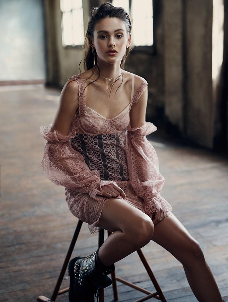<p>Dress, $3,595, Burberry, au.burberry.com; bra, $120, Hanro, hanro.com.au; high-waisted briefs, $69.95, Nancy Ganz, nancyganz.com.au; earring in model's right ear, $1,200 for three, Christian Dior, (02) 9229 4600 (worn throughout); earring in model's left ear, $132, Petite Grand, petitegrand.com (worn throughout); necklace, $89, Swarovski, swarovski.com.