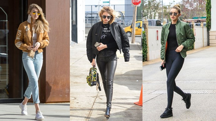 <strong>Gigi Hadid</strong> Like her younger sis, Gigi draws on the sports—luxe movement but elevates her outfits to high—fashion status by adding a bomber jacket and high-waisted pants.