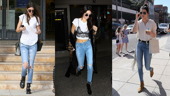 <strong>Kendall Jenner</strong> Kendall is a living, breathing Lana Del Rey anthem with her classic blue jeans, white shirt combo serving her well in the streetstyle department. Add some trendy detail (a lace cami, double buckled belt or matching bucket bag) and this look never goes out of style.