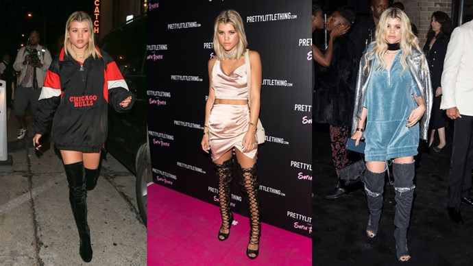 <strong>Sofia Richie</strong> As the number one fan of the lampshading trend, Sofia Richie's love affair with sky—high boots and thigh—skimming shirt—dresses knows no bounds. Add a statement choker, let your locks do what they want and you've got this look <em>down</em>.