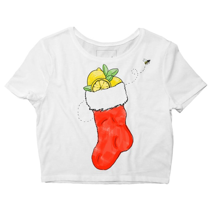 """Cropped tee, $53, <a href=""""http://shop.beyonce.com/products/59236-i-came-to-sleigh-cropped-tee"""">Beyonce.com</a>"""