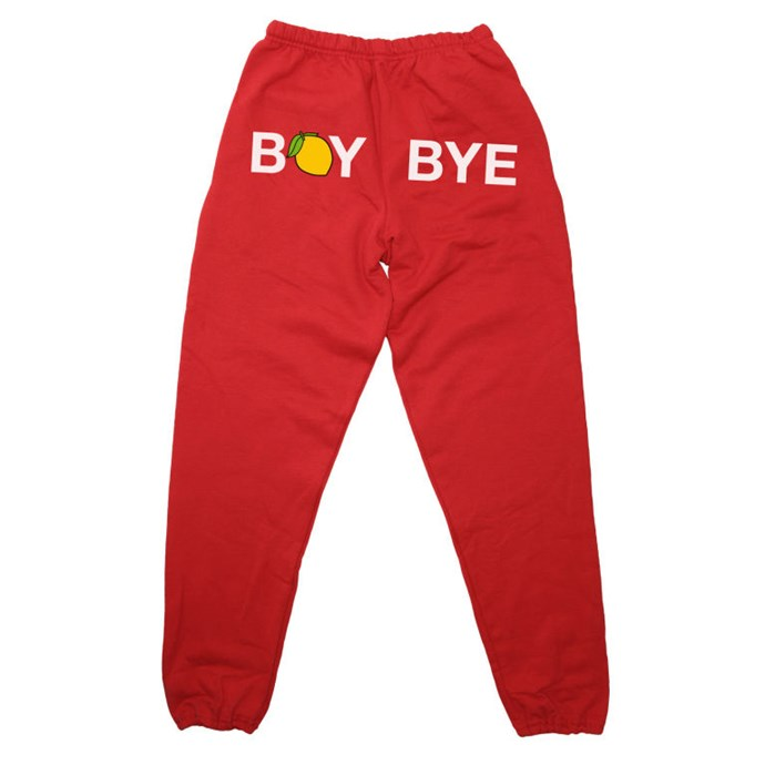 """Trackpants, $80, <a href=""""http://shop.beyonce.com/products/59255-boy-bye-red-sweatpants"""">Beyonce.com</a>"""