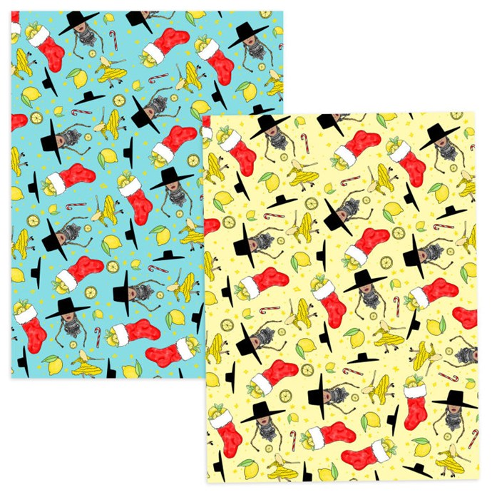 """Wrapping paper, $21, B<a href=""""http://shop.beyonce.com/products/59289-blue-yellow-holiday-pattern-wrapping-paper"""">eyonce.com</a>"""