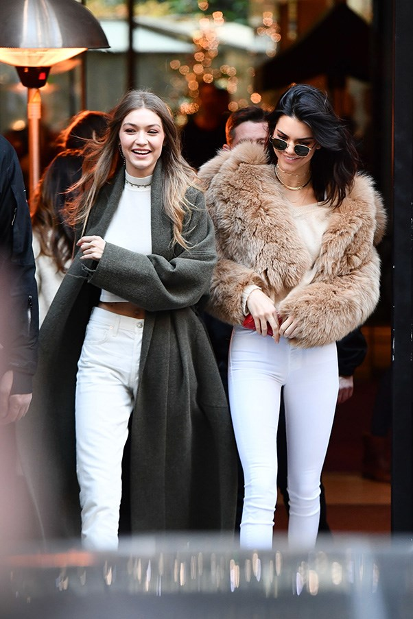 <strong>White top, white top jeans</strong><br><br> Out in Paris during the Victoria's Secret Fashion Show on November 28, 2016.<br><br> Image: Splash