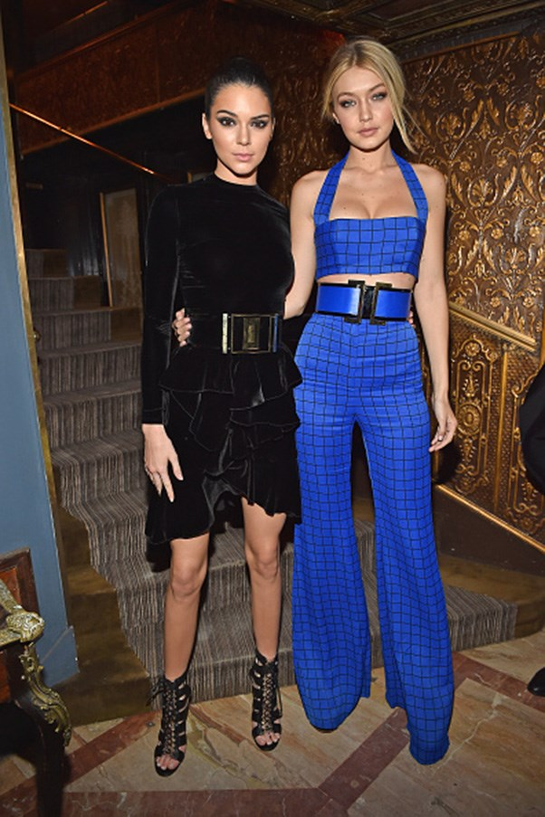 <strong>Giant statement belt Balmain twins</strong><br><br> At the Balmain fall 2015 after-show dinner in Paris on March 5, 2015.