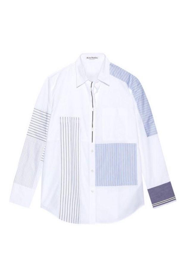 "<a href=""https://www.net-a-porter.com/au/en/product/730797/acne_studios/sela-patchwork-cotton-poplin-shirt"">Shirt, $730, Acne Studios at net-a-porter.com. </a>"