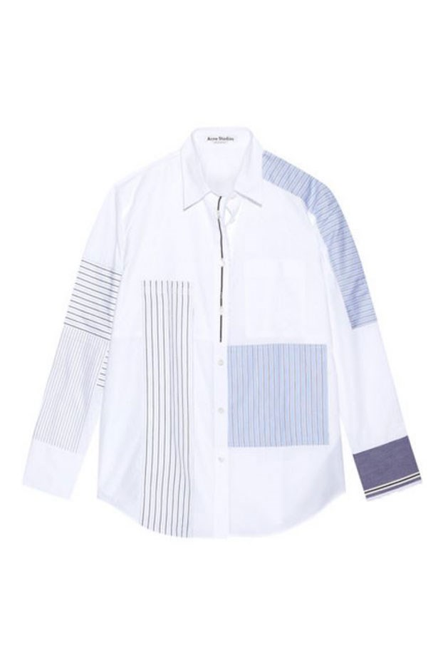"<a href=""https://www.net-a-porter.com/au/en/product/730797/acne_studios/sela-patchwork-cotton-poplin-shirt"">Shirt, $730, Acne Studios at net-a-porter.com. </a>"