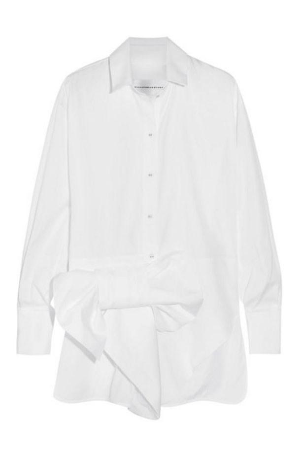 "<a href=""https://www.net-a-porter.com/au/en/product/817915/victoria__victoria_beckham/bow-embellished-cotton-shirt"">Shirt, $525, Victoria Beckham at net-a-porter.com. </a>"