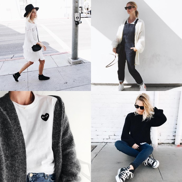 "<p><strong>Mija by Mirjam Flatau</strong> <p>The Munich-bred, L.A.-based self-described art director and creative type lives in a neutral palette, denim and the sweetest sneakers everyone covets. <p><a href=""https://www.instagram.com/mija_mija/"">Instagram.com/mija_mija</a>"