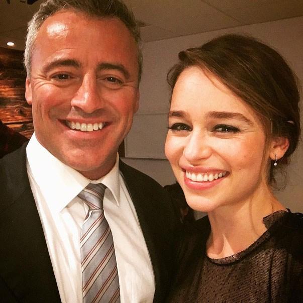 <p><strong>Emilia Clarke and Matt LeBlanc</strong> <p>Fanboy-meets-fangirl friends.