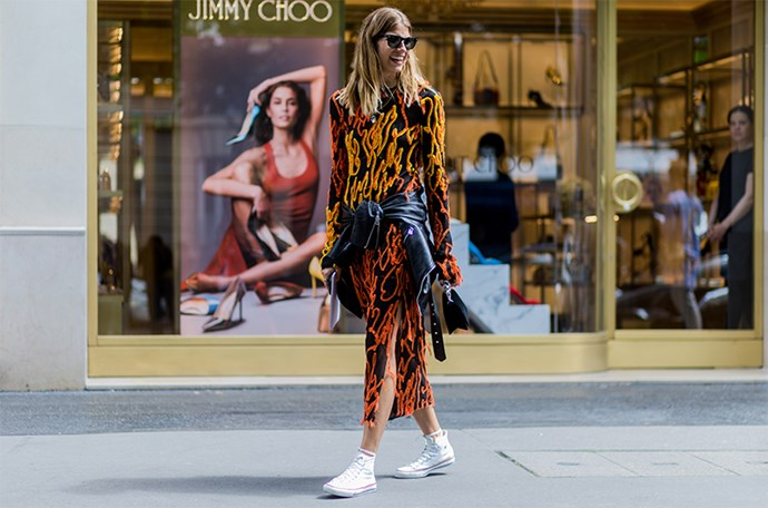 Blogger, Veronika Heilbrunner makes a serious case for wearing sneakers anywhere and everywhere. Here, her best sneaker chic looks.