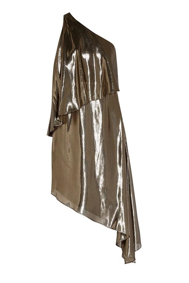 "Halston Heritage dress, $760 from <a href=""https://www.net-a-porter.com/au/en/product/746258/halston_heritage/asymmetric-one-shoulder-silk-blend-lame-dress"">net-a-porter.com</a>."