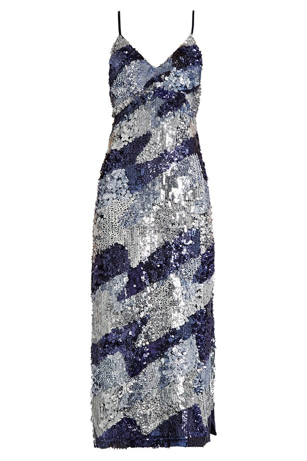 "House of Holland dress, $1,619 from <a href=""http://www.matchesfashion.com/au/products/House-Of-Holland-Sequin-embellished-slip-dress-1066698"">matchesfashion.com</a>."