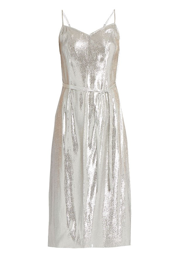 "HVN dress, $664 from <a href=""http://www.matchesfashion.com/au/products/HVN-Sleeveless-lam%C3%A9-slip-dress-1086223"">matchesfashion.com</a>."