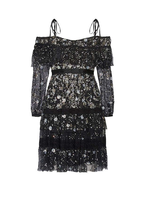 "Needle & Thread dress, $584 from <a href=""https://www.net-a-porter.com/au/en/product/794957/needle___thread/supernova-off-the-shoulder-ruffled-embellished-tulle-mini-dress"">net-a-porter.com</a>."