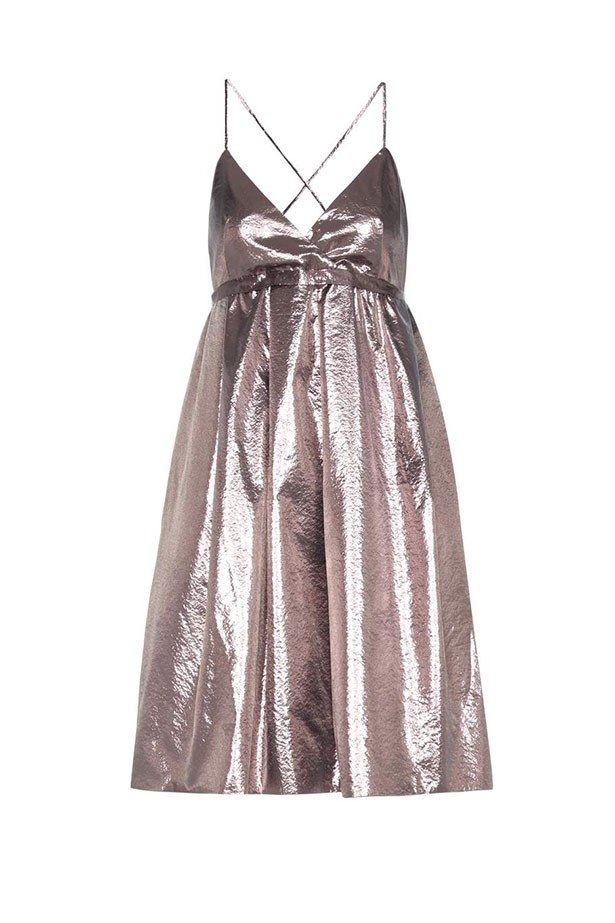 "Victoria by Victoria Beckham, $1,105 from <a href=""http://www.mytheresa.com/en-au/metallic-dress-576676.html?catref=category"">mytheresa.com</a>."