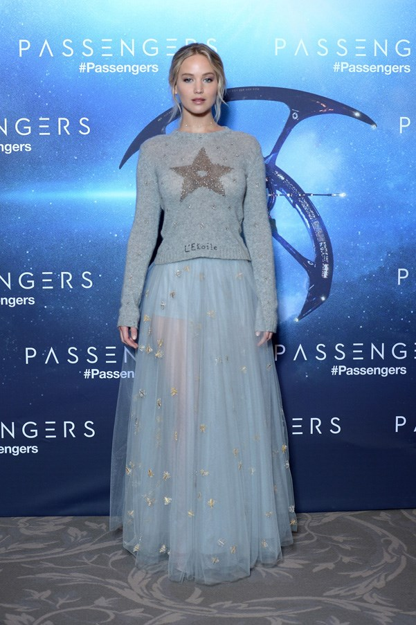 <P><strong>JENNIFER LAWRENCE IN CHRISTIAN DIOR</strong> <BR><BR> Jennifer Lawrence played a sartorial wild card at the Paris premiere of <em>Passengers</em>, forgoing an obvious gown in favor of a tulle skirt and sweater, both by Dior.