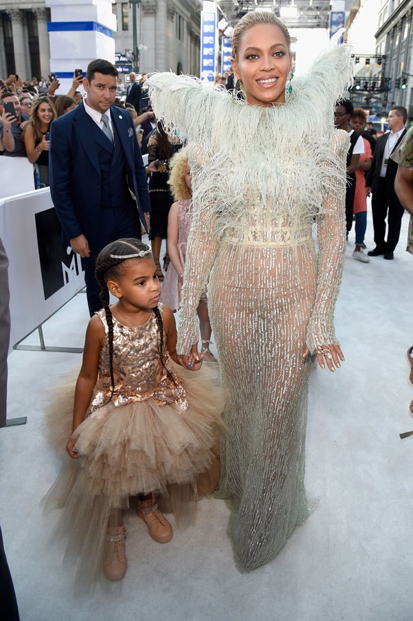 <P><strong>BEYONCE IN FRANCESCO SCOGNAMIGLIO AND BLUE IVY IN MISCHKA AOKI</strong> <BR><BR> Beyonce and Blue Ivy looked like matching feathery angels from heaven in Francesco Scognamiglio couture and Mischka Aoki, respectively.