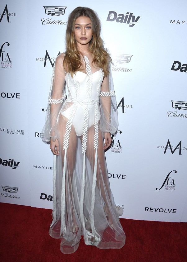 <P><strong>GIGI HADID IN YANINA COUTURE</strong> <BR><BR> There was something pleasingly silver-screen-dressing-gown about Gigi Hadid's Yanina Couture (with La Perla bodysuit underneath) at the Fashion Los Angeles Awards.