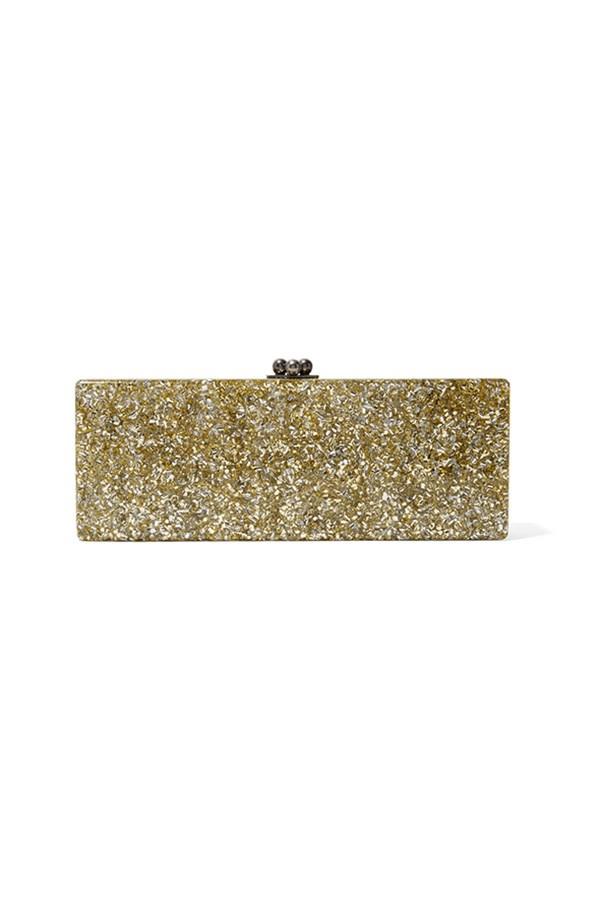 "Edie Parker clutch, $637, <a href=""https://www.theoutnet.com/en-AU/Shop/Product/Edie-Parker/Flavia-glittered-acrylic-clutch/843594"">The Outnet</a>"