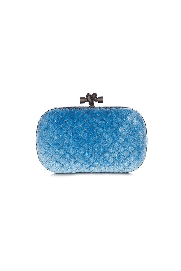 "Bottega Veneta clutch, $1,780, <a href=""http://www.matchesfashion.com/au/products/Bottega-Veneta-Knot-velvet-and-water-snake-clutch--1053810"">Matches Fashion</a>"