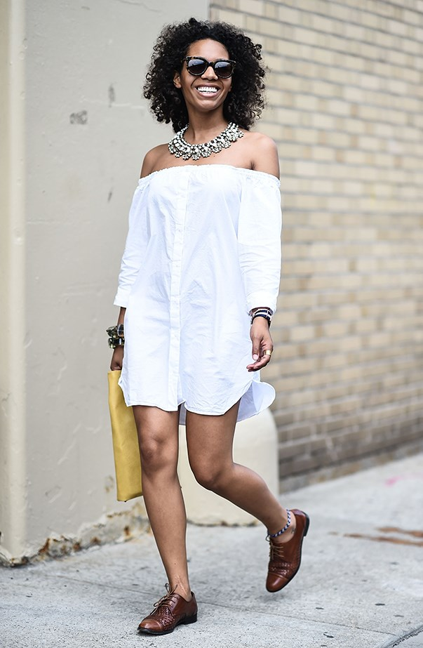 <p><strong>Melbourne: Sunny, 20°C–35°C</strong> <p>You know what's the opposite of traditional Melbourne black? Crisp white! An off-the-shoulder dress and statement necklace should do it.