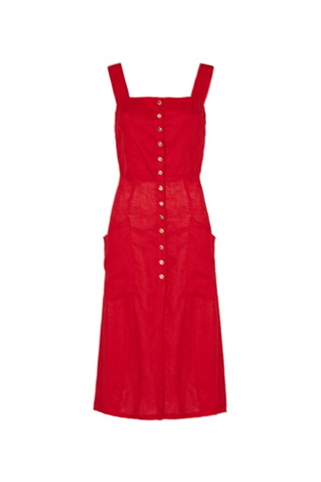 """<p>Milan Linen Dress in Red, $239, <a href=""""https://paddotopalmy.com.au/product/milan-linen-dress-red/"""">Paddo to Palmy</a>."""