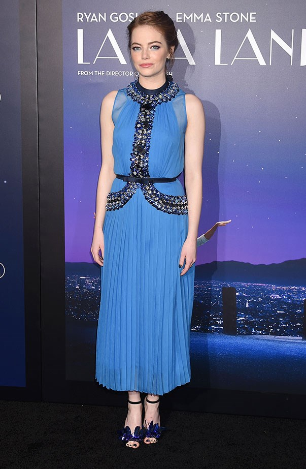 <p>Emma looked dreamy in a Prada dress and Jimmy Choo shoes at the L.A. premiere of <em>La La Land</em>.