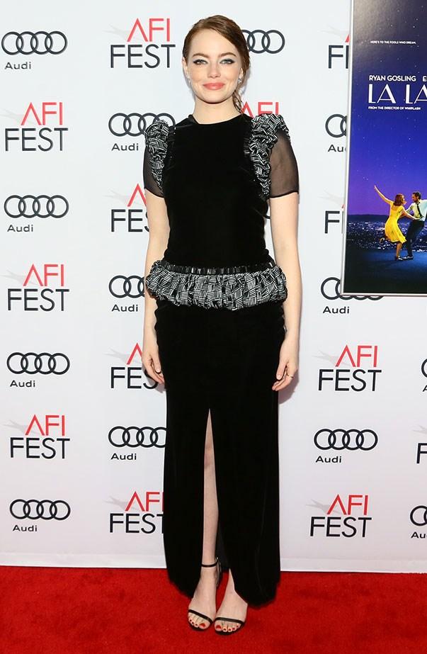 <p>Emma in Armani Privé at the AFI Fest screening of <em>La La Land</em>.