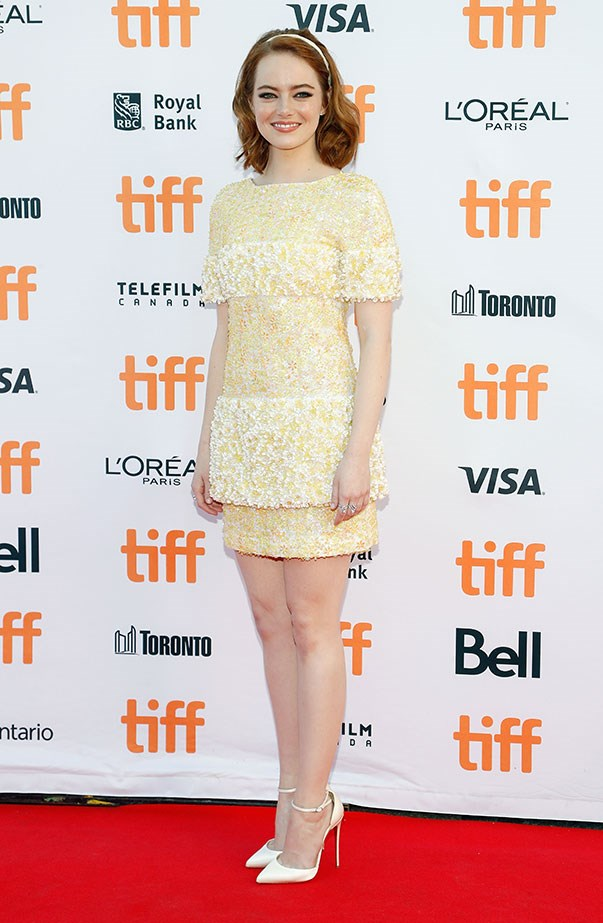 <p>Emma in yellow Chanel at the premiere of <em>La La Land</em> at the Toronto International Film Festival.