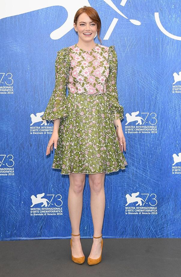 <p>Emma wore Giambattista Valli for the <em>La La Land</em> press conference at the Venice Film Festival.