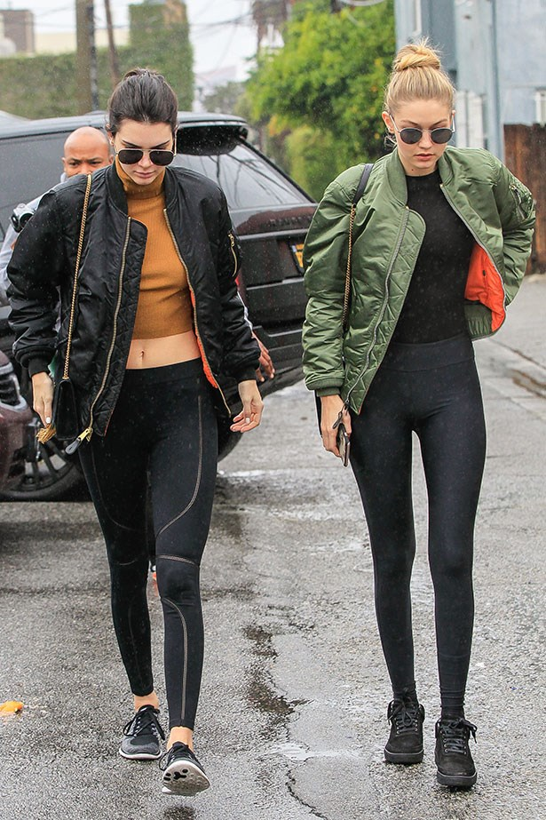 """Kendall Jenner has revealed the secret to her flawless street style and no, it's not having a personal stylist (although that would also help). The key, she says, is having an outfit formula. <br></br> Her favourite combo? A """"rocker tee or crop top (turtlenecks rule RN) + leggings (the more interesting, the better) + bomber jacket = comfortable-cool and ready to go anywhere!"""" she wrote on her <a href=""""https://www.kendallj.com/style/1407-secret-my-casual-uniform/"""">app</a>. <br></br> To keep things different, Kendall occasionally swaps out the bomber for a tailored jacket and alternates between sneakers, boots and heels, but the base components are always the same."""