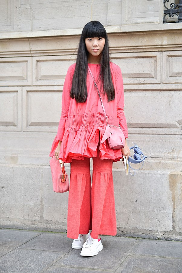 Susie Bubble in Molly Goddard at haute couture fashion week.