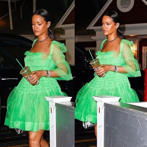 "Rihanna in Molly Goddard<br><br> Image: Instagram <a href=""https://www.instagram.com/p/BF4mhXUgN5v/"">@mollygoddard</a>"