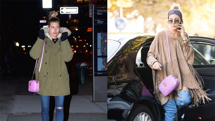 "<strong>Hailey Baldwin </strong> <br><br> Shoulder bag, $1355, <a href=""https://www.gucci.com/au/en_au/pr/women/handbags/womens-shoulder-bags/gg-marmont-matelass-shoulder-bag-p-447632DRW1T5554?position=11&listName=VariationOverlay"">Gucci</a>"