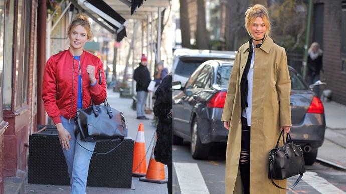 """<strong>Karlie Kloss</strong> <br><br> Bag, $2030, <a href=""""http://www.alexandermcqueen.com/au/alexandermcqueen/tote_cod45299614bf.html?gclid=CKq8zaXrytECFUIDvAodg2MJ7Q&tp=84295"""">Alexander McQueen</a>"""