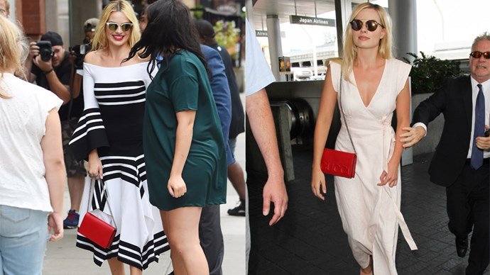 "<strong>Margot Robbie</strong> <br><br> Leather Mini Bag, $1435, <a href=""https://www.gucci.com/au/en_au/pr/women/womens-accessories/womens-wallets/womens-chain-wallets/gucci-xl-leather-mini-bag-p-421850CVL2N1000"">Gucci.</a>"